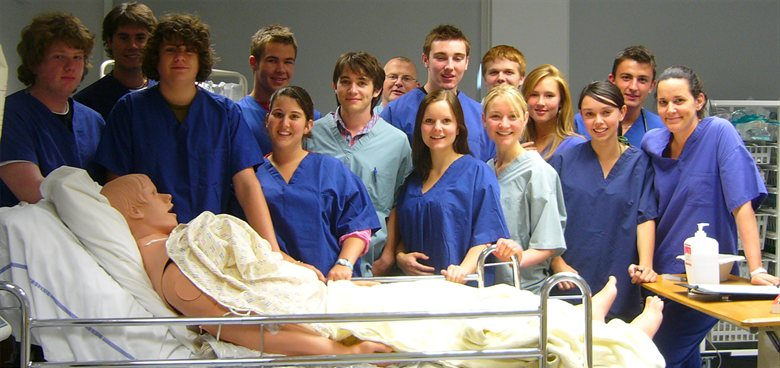 BrightMed students in scrubs
