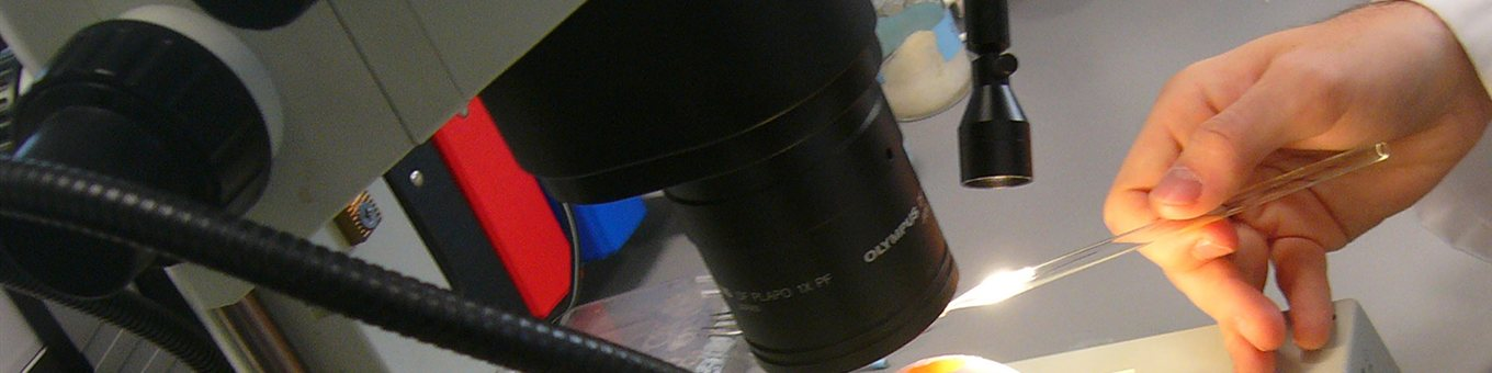 Close up image of a microscope in a lab