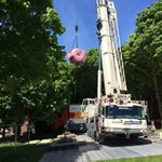 13 ton scanner winched in by crane to university imaging centre