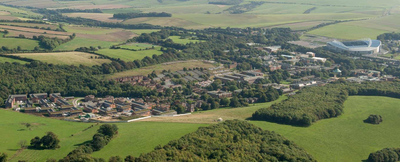 An aerial photo of Falmer campus where BSMS is based