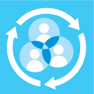 Illustrated blue image showing people grouped together inside a circle, with arrows pointing clockwise around the edge