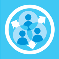 Illustrated blue image showing people grouped together inside a circle, with arrows pointing outwards