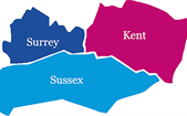 NIHR map showing Kent Surrey and Sussex