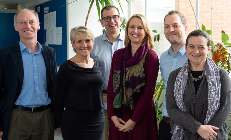 HRG research group photo, with 6 members of the group